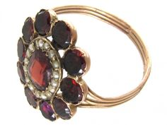 Georgian Flat Cut Garnet & Pearl Cluster Ring - The Antique Jewellery Company Gold Rings Jewelry, Garnet Jewelry, Pearl Jewelry, Jewelery, Antique Rings, Vintage Rings, Antique Jewelry, Vintage Jewelry, Couple Jewelry