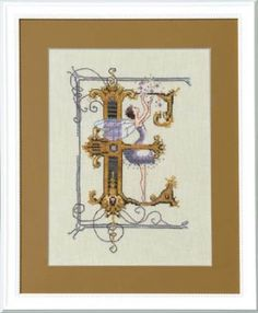 "From Nora Corbett's series titled Letters from Nora is this cross stitch pattern titled ""E"" or Eleanor.  The cross stitch pattern is stitche..."