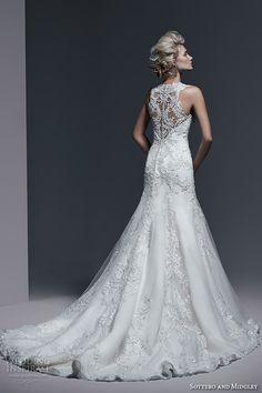 sottero and midgley bridal fall 2015 2016 thick lace straps v neckline embroidery drop waist a line gorgeous wedding dress demetria back