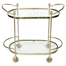 Midcentury Oval Brass Bar Cart