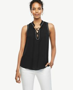 Image result for ann taylor lace up tipped shell
