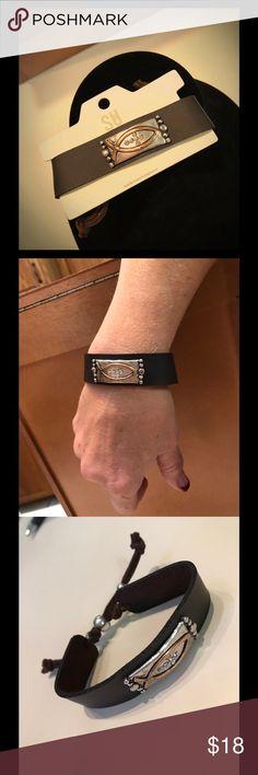 Faux Leather FAITH BRACELET Beautiful FAUX LEATHER FAITH BRACELET. Pull ends to adjust length! Very stylish! Jewelry Bracelets