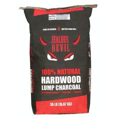 Jealous Devil Natural Lump Charcoal, Restaurant Quality for Smoking and Grilling, Best Lump Charcoal, Natural Charcoal, Charcoal Grill, Hardwood Charcoal, Wood Grill, Perfect Grill, 35 Pounds, Lighter Fluid, Scrap Material