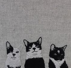 Rule of Three progress. Hand embroidery on natural linen. #embroidery #adipocerecats #wip