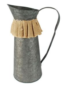 Sturdy metal construction makes this pitcher ideal for watering the garden in style or holding an elegant potted plant for a rustic touch in the garden or kitchen. Apothecary Jars, Farmhouse Style, Burlap, Planter Pots, Candle Holders, Bucket, Rustic, Metal, Serendipity