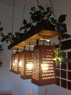 Pallet Garden with lights ~~ I have a mini grater ~ find more - add lights and have a cute accent light in kitchen or on patio