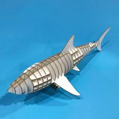 10$ Shark 3D Puzzle with assembly guide by Unnote Cardboard Laser Etcher, 3d Puzzles, Briefs, Christmas Lights, Cnc, Shark, Art Projects, Connection, Fish