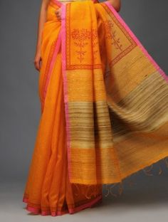 Wow I love this !Orange-Maroon Mukaish Tussar-Silk Saree