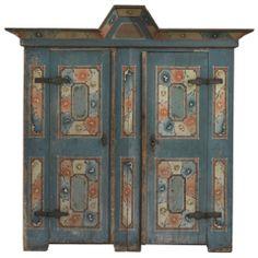 Remarkable Arch Pediment Folk Art Marriage Cupboard