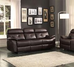 Evana Bonded Leather Double Reclining Sofa w/Drop-Down Cup Holders