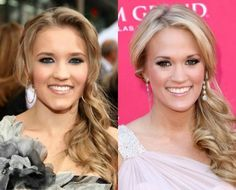 Look alike celebs  Mind=BLOWN..... Emily Osment and Carrie Underwood (respectively)