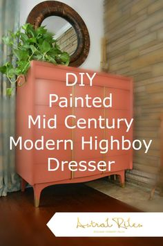 DIY painted furniture. Coral / Pink Girly Glam Painted Mid Century Modern Highboy Dresser | Astral Riles