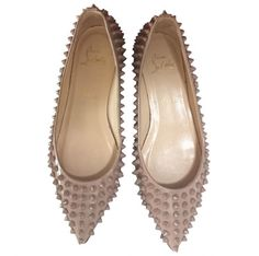 Authentic Christian Louboutin Beige Pigalle Spiked Ballerina Flats Size 37 | eBay