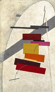 Like Malevich, Lissitzky believed in a new art that rejected traditional pictorial structure, centralized compositional organization, mimesis, and perspectival consistency. In this work the ladder of vividly colored forms seems to be floating through indeterminate space. Spatial relationships are complicated by the veil of white color that divides these forms from the major gray diagonal. The linkage of elements is not attributable to a mysterious magnetic pull...