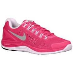 Nike LunarGlide + 4 - Women's - Running - Shoes - Fireberry/Pearl Pink/Reflect Silver! My new shoes!  I'm in love with them!