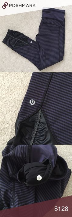 Lululemon. Pace Queen Tight. Purple Cadet Stripe. Excellent condition!   no trades ✖️ no holds  offers considered through the offer button ♻️ if it's listed, it's available lululemon athletica Pants Leggings