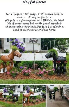 These Clay Pot Horses are made using Terracotta Pots and how cute will they look hanging out in your garden.