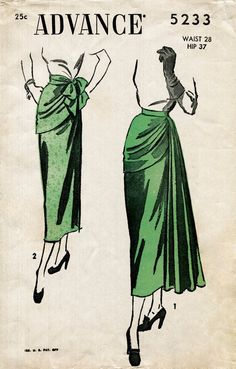 1940s 40s vintage skirt women's sewing pattern draped panel evening cocktail size medium waist 28 reproduction