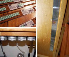 Metal ruler + magnetic spice jars - Small Space Storage: Build a Spice Rack With a Ruler! Spice Rack For Small Spaces, Small Space Storage, Small Bathroom Storage, Built In Storage, Kitchen Storage, Cabinet Spice Rack, Spice Storage, Diy Storage, Food Storage