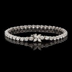 Tiffany & Co. Diamond Victoria Line Bracelet in Platinum