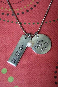 I HAVE TO GET THIS WITH MY SONS BDAY!!!!  God gave me you hand stamped necklace by heldinYourhands on Etsy, $26.00
