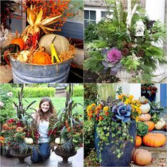 22 Beautiful Fall Planters for Easy Outdoor Fall Decorations : 22 gorgeous fall planters for Thanksgiving & fall decorations: best fall flowers for pots, & great autumn planter ideas with mums, pumpkins, kale, & more! - A Piece of Rainbow Christmas Planters, Fall Planters, Outdoor Christmas, Christmas Crafts, Outdoor Thanksgiving, Planters Flowers, Flowers Garden, Garden Planters, Thanksgiving Decorations