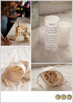 A great alternative to the traditional wedding guest book, a Wood Guest Book Puzzle, similar to jenga - 100 block set. A super clever idea for couples who love games. These blocks are blank on all sides to allow for writing. Handmade and made in USA. http://www.aftcra.com/thepaperynook/listing/12429/wood-guest-book-puzzle-100-block-set
