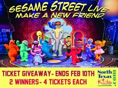 Win 4 Tickets to see Sesame Street Live - Make a New Friend. Ends Feb 10th at midnight CST.