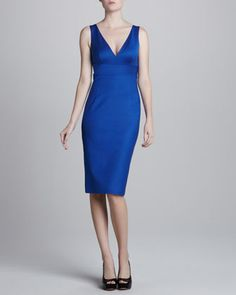 V-Neck Crepe Dress, Cobalt by Michael Kors at Last Call by Neiman Marcus.