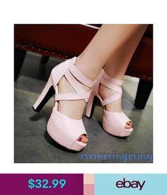 d8af3dd3e61d Heels Womens Platform Open Toe Ankle Strap Block High Heels Sandals Summer  Shoes  ebay