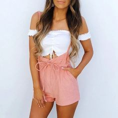 Summer Rompers Womens Jumpsuit Shorts Lace Up High Waist Pink Pants Overalls Drawstring Spaghetti Strap Casual Sexy Streetwear Summer Rompers Womens Jumpsuit Shorts Lace Up High Waist Pink Pants Ov – geekbuyig Stylish Outfits, Cute Outfits, Fashion Outfits, Fashion Fall, Womens Fashion, Short Jumpsuit, Jumpsuit Shorts, Lace Jumpsuit, Cream Jumpsuit