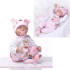 22'' Handmade Lifelike Baby Girl Doll Silicone Vinyl Reborn Dolls Clothes Gift | eBay