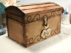 Items similar to Wedding Card Trunk - Rustic Wooden Card Box - Rustic Wedding Card Box - Rustic Wedding Decor - Advice Box - Guestbook on Etsy Wooden Card Box, Diy Card Box, Diy Box, Wooden Diy, Card Boxes, Wooden Boxes, Rustic Card Box Wedding, Wedding Cards, Rustic Shabby Chic