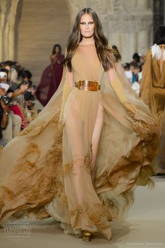 stephane rolland fall 2012 couture chiffon jersey caped dress ostrich feather embroidery