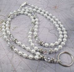 White Glass Pearl and Aurora Borealis Crystal Glass Beaded ID Badge Holder, ID Necklace.