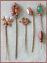 5 Very Old Stick Pins Fun Vintage Mini Jewelry.  I wish I would have saved mine!