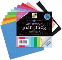 """Die Cuts With A View Adhesive Back Mat Stacks - 6"""" x 6"""" Match Makers-12 Bright Colors"""