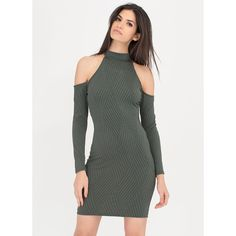Cut The Lines Cold-Shoulder Dress ($22) ❤ liked on Polyvore featuring dresses, green, long-sleeve cut-out dresses, stripe dresses, long sleeve cut out dress, long sleeve striped dress and green dress