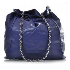 CHANEL Caviar 31 Drawstring Tote Blue - love it! Cost only slightly more than my MM!