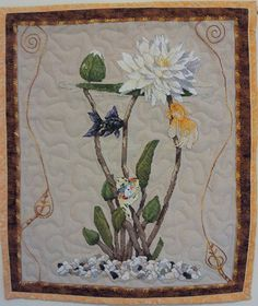 Fish Art Water Lily Art Quilt Cross Stitch Quilt by GreytDesigns