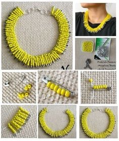 jewelry making ideas and easy picture instruction to help you to finish this unique neckalce.DIY Safety Pin Necklace, very cool but it would take forever to make!Korean culture is all the buzz in style and music today. And it seems like it's likewise Safety Pin Crafts, Safety Pin Jewelry, Wire Jewelry, Jewelry Crafts, Beaded Jewelry, Jewelery, Handmade Jewelry, Safety Pins, Gold Jewelry