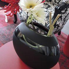 Vase verre Auréa noir ht.19 cm