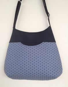 Black Dots on Gray Cotton Fabric Bag Purse by NormasBagBoutique, $30.00