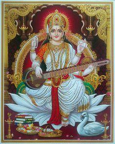 Goddess Saraswati the diety of wisdom and knowledge Saraswati Mata, Saraswati Goddess, Shiva Shakti, Kali Goddess, Durga Puja, Mother Kali, Divine Mother, Mother Goddess, Saraswathi Pooja