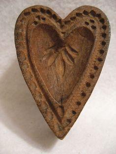 Antique Vtg Primitive Wooden  Heart Shaped Mold Stamp Springerlie Cookie Butter | Antiques, Primitives | eBay!