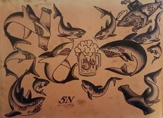 Traditional/old school tattoo sailor jerry sharks beer nautical . Traditional Nautical Tattoo, Traditional Sailor Tattoos, Traditional Shark Tattoo, Traditional Tattoo Flash, Sailor Jerry Flash, Hai Tattoos, Arabic Tattoos, Flash Tattoo, Sailor Jerry Tattoos