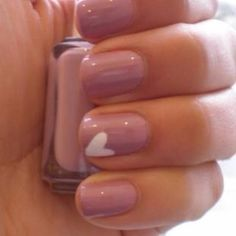 Pink with white heart on ring finger.