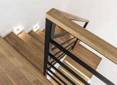 Sheriff Design added a new photo. Staircase Handrail, Stair Railing Design, Metal Stairs, Modern Stairs, Indoor Railing, Living Room Lighting Design, Interior Stairs, House Stairs, Home Wallpaper
