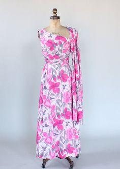 Vintage 1960s Floral One Shoulder Maxi Dress