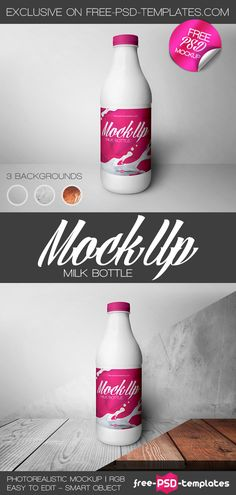 Free Milk Bottle Mock Up | Free Psd Templates | #free #photoshop #mockup #psd…